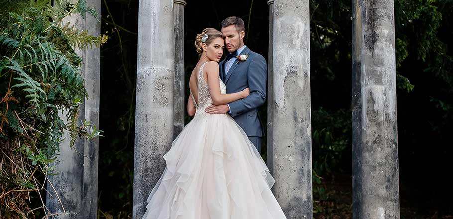 bride and groom at their outdoor wedding at Birdsall