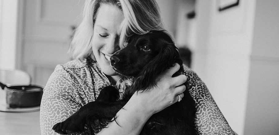 Lady Cara Willoughby with Inky the dog