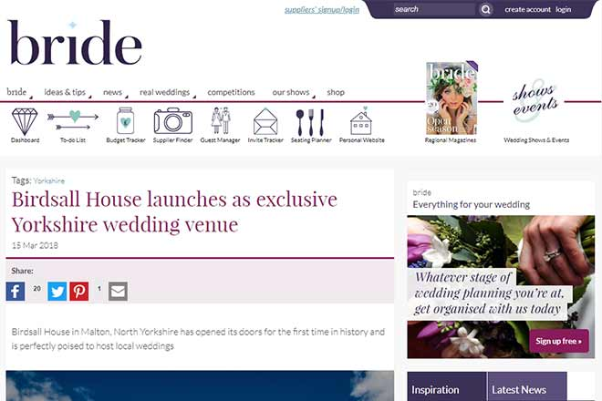 Yorkshire Bride Features Birdsall House