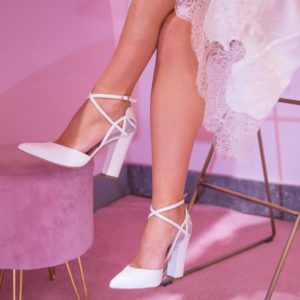 Closed toe high heel wedding shoes